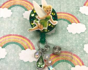 Tinker Bell Charm Beaded Kawaii Fairy Crystal Badge Reel Retractable Disney ID Holder Nurse CNA CPhT RN Technician Alligator Swivel Clip