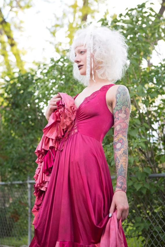 Magenta Tone Ruffled Slip Dress, Full Circle skirt