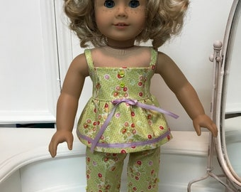 American Made Sunny Top and Capri pants/ or Summer Pajamas  made to fit  18 inch  Doll