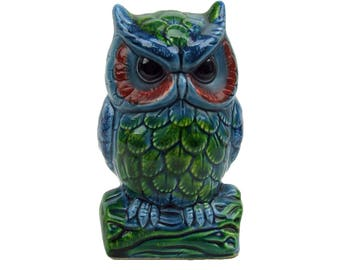 Vintage Retro Kitsch Groovy Owl Bank Figurine Made in Japan Glazed Pottery Six Inches Tall