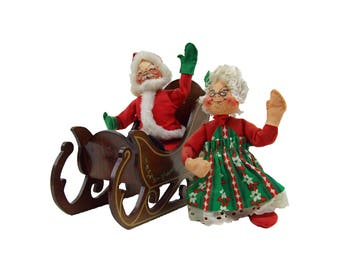 Vintage 1963 Annalee Mr and Mrs Santa Claus with Wooden Sleigh Christmas Cloth Felt Art Doll Annalee Three Pieces
