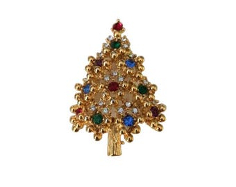 vintage eisenberg rhinestone retro christmas tree brooch jewelry - Retro Christmas Tree