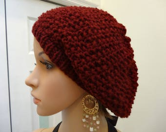 AUTUMN RED HAT ,knit tam/beret,slouchy style hat ,hand knitted,acrylic worsted weight yarn,seed stitch pattern