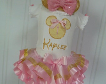 Minnie Mouse Pink and gold Birthday Themed Outfit- Adorable Minnie Outfit for  Short or Long Sleeve
