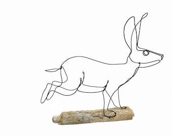 Rabbit Wire Sculpture, Hare Wire Sculpture, Bunny Art, 566622815