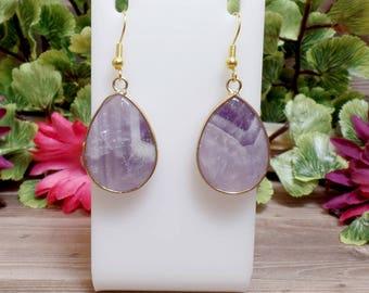 Amethyst Teardrop Earrings - Gemstone Earrings - Goldtone - Purple earrings