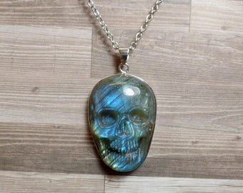 Labradorite Skull Necklace - Carved Gemstone Necklace - No. 3 - Free US Shipping