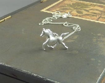 Xander. Silver Horse Necklace. horse jewelry. equestrian jewelry. whimsical jewelry. silver horse. gold necklace. modern necklace.