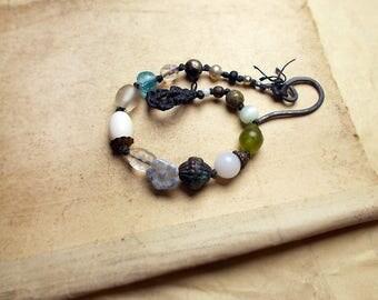 Beaded Bracelet - Eclectic Bead Bracelet - Black Macrame, Vintage Glass, Metal - Steel - White Flower, Sci-Fi Green Glow - Sugar Bead - Blue