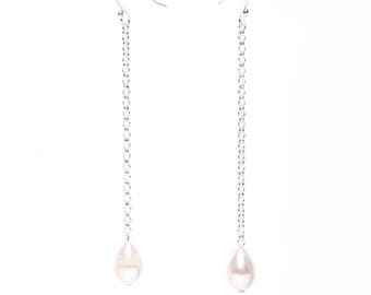 Long Pearl Drop Earrings