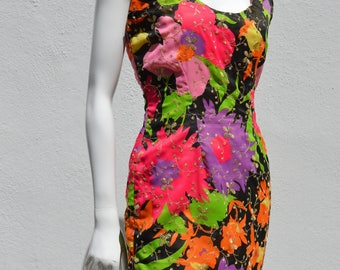 Vintage 70's dress restyled as a 80's mini dress sexy short disco bodycon sM party cocktail dress by thekaliman