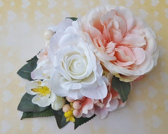 Unique peach English rose with white rose, hydrangea, cherry blossoms and white pink berries vintage wedding bridal hairflower 50s bride