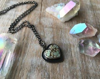 Turquoise Heart Necklace, Gobi Desert Lavender Necklace, Sterling Silver Heart Pendant... L'Amour...