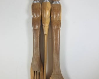 Primitive Hand Carved African Utensil Set Carving Knife Salad Fork and Spoon Teak Wood Wall Art