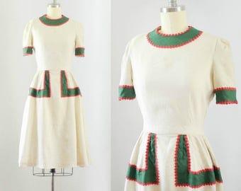 Vintage 1940's Ric Rac Linen Dress