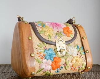 Vintage 1960's Straw & Wood Box Purse