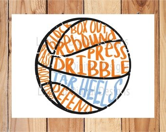 Basketball - TAR HEELS, scribble BASKETBALL, Digital Cut Files