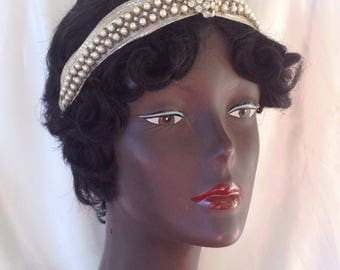 1920's turban style silent cinema queen new years eve beaded headband with faux pearls and rhinestones 1930s 1940s  - ready to ship