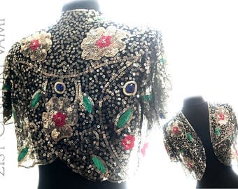 Glorious 1930s Sequin Bolero Jacket. Made In France. Art Deco. Flowers. Metallic.