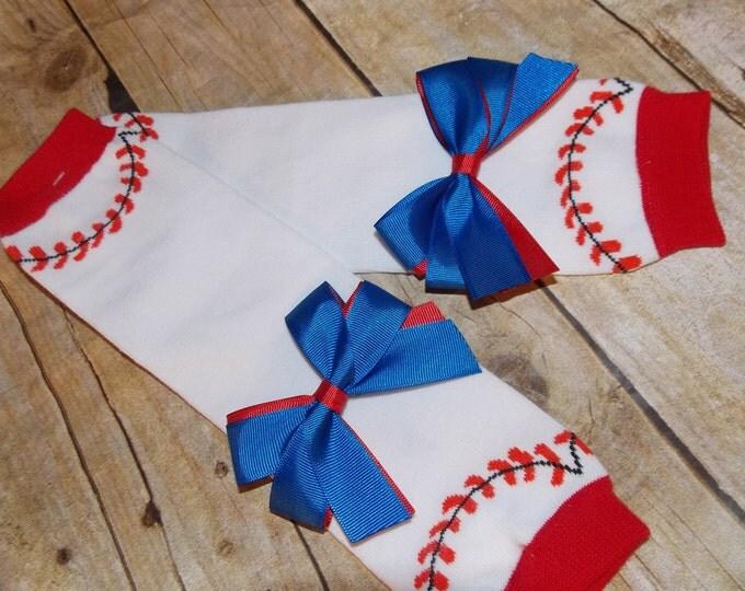 Baseball - Baby leggings - leg warmers - Leggings and bows - baby socks - baseball gift - baby sports - baseball bows - red - blue- bow