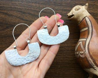 half circle hoops, hammered metal hoop earrings, Pre-Columbian style hoop earrings