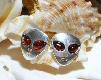 Sterling Silver and Baltic Amber Alien ET UFO Stud Earrings 2.25g