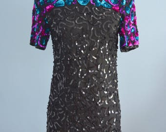 Vintage Black Silk Sequins Dress With Shoulder Colorful Details By In Fashion