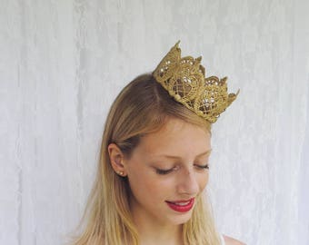 """Gold Duchess Lace Crown - """"The Duchess Crown"""" - fairy tale, royalty, birthday crown, bridal crown, bachelorette party, princess, queen"""