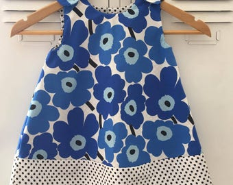 Size 1 Baby Marimekko Smock Dress. BLUE.