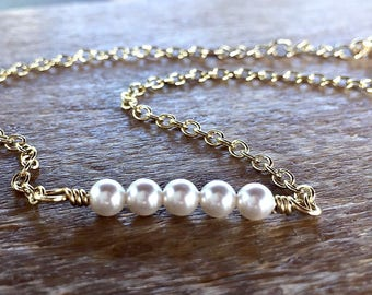 Gold Wire Wrap Anklet with White Swarovski Pearls - Winter on the Beach Jewelry - Florida beach Ankle Bracelet