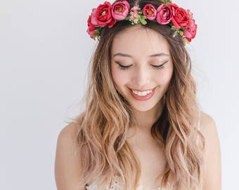 romantic red mauve wedding floral headpiece // Kiki / ranunculus flower hair wreath, woodland headband, ethereal romantic garden bride