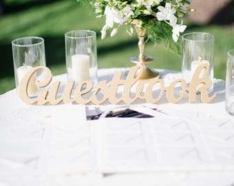 Gold Wedding Guestbook Table Sign Freestanding Guestbook