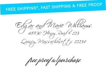 Calligraphy Return Address Stamp.  Mounted with Wood Handle or Self-Inking  (20323) 2 1/2 x 1