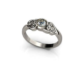 Avatar Air Bender Engagement Ring - Sterling Silver - Blue Sapphire, Moissanite, Topaz, Geeky Ring, Sprial Swirl Ring