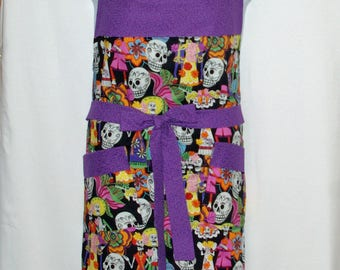 Day of the Dead Apron, Plus Size, Ruffled, Día de Muertos, Sugar Skulls, Zombies, Custom Personalized With Name, No Shipping Fee, AGFT 1209