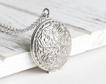 Embossed Round Vintage Antiqued Silver Locket Pendant Necklace on Rhodium Plated Chain