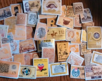 50 Yellow Used World Postage Stamps for crafting, collage, cards, altered art, scrapbooks, decoupage, history, collecting, philately 8a