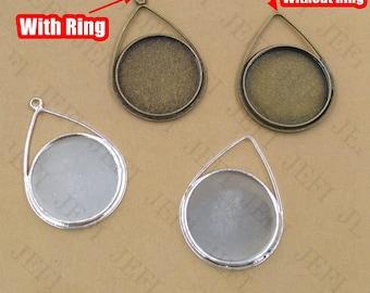 20 Brass Teardrop Pendant W/ 20mm Round Bezel Antique Bronze/ Silver Plated Pendant Trays Cabochon Mountings Gems Setting- Z8615