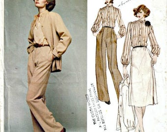 1970's Vogue Paris Original Christian Dior  VOGUE 1608  Out of Print Dior Designer Lined Jacket, Blouse, Skirt and Trousers Size 12  Bust 34