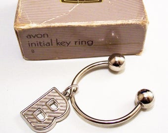 Avon B Initial Key Ring Silver Tone Vintage 1987 Polished Smooth Lined Imprinted Dangle Large Round End Beads
