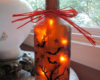 halloween lamp,wine bottle lamp,lamps,wine bottle lights,lighted bottles,lighted wine bottle,bats,witch,scary tree