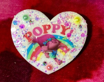Poppy Trolls Heart Brooch.