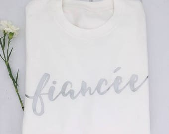 Fiancee | Fiancee Sweatshirt | Wedding Jumper | Engagement Gift | Bridal Shower Gift | White and Silver
