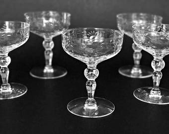 Vintage Crystal Coupe Glasses Champagne Cocktail Glasses Floral Cut Crystal Champagne Saucers