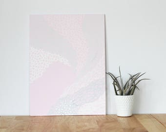 """pink wall art acrylic painting, """"the circles - are you my bestie, flat 9x12 canvas, gift for friend, best friend, portrait, gift, wall art"""
