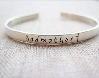 Godmother Gift - Personalized Solid Sterling Silver Cuff  Bracelet - Hand Stamped Custom Made by Betsy Farmer Designs