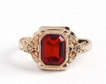 Vintage 10k Rose Gold Filled Simulated Ruby & Genuine Diamond Ring - Art Deco 1930s Size 6 3/4 Red Glass Uncas Jewelry