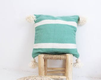 Moroccan POM POM pillow cover - Turquoise with wool natural undyed stripes