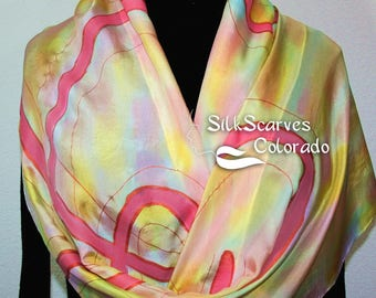 Silk Scarf Hand Painted Silk Shawl Yellow Coral Pink Hand Dyed Silk Scarf FAIRY DANCE Large 14x72 Birthday Gift Scarf Gift-Wrapped Scarf