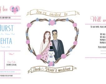 Custom illustrated wedding invitation, digital download, illustrated wedding invitation, wedding printables, digital weddin invites